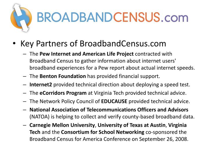 Key Partners of BroadbandCensus.com