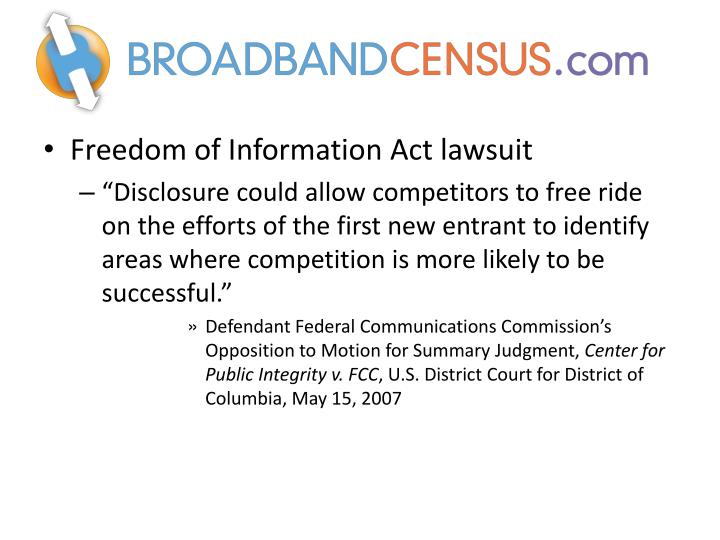 Freedom of Information Act lawsuit