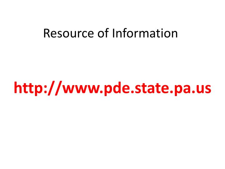 Resource of information