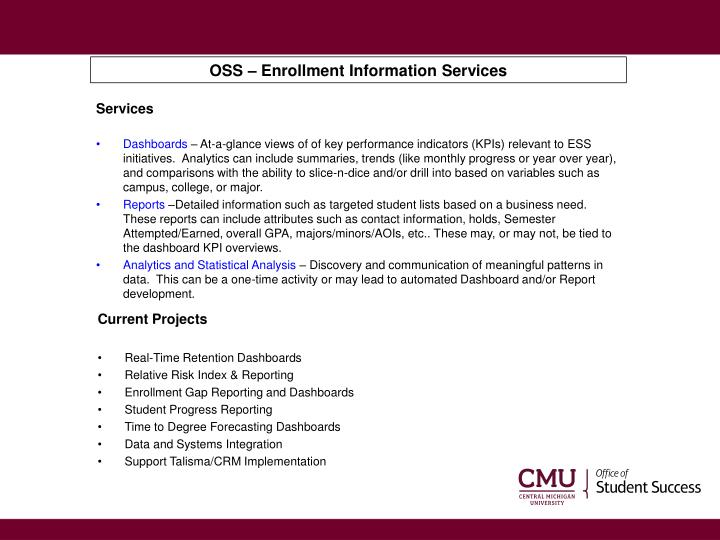 OSS – Enrollment Information Services