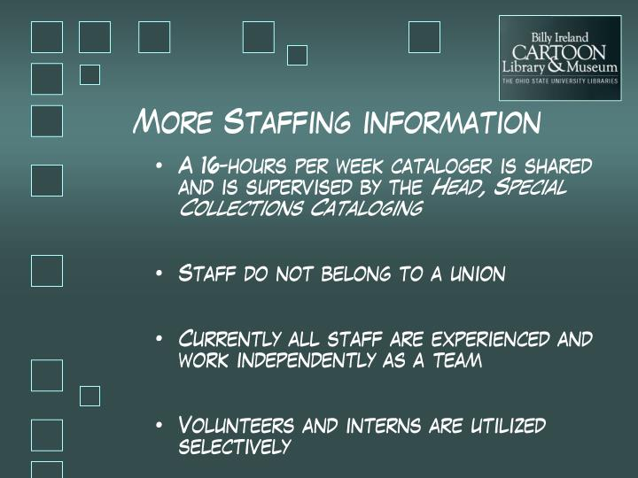 More Staffing information