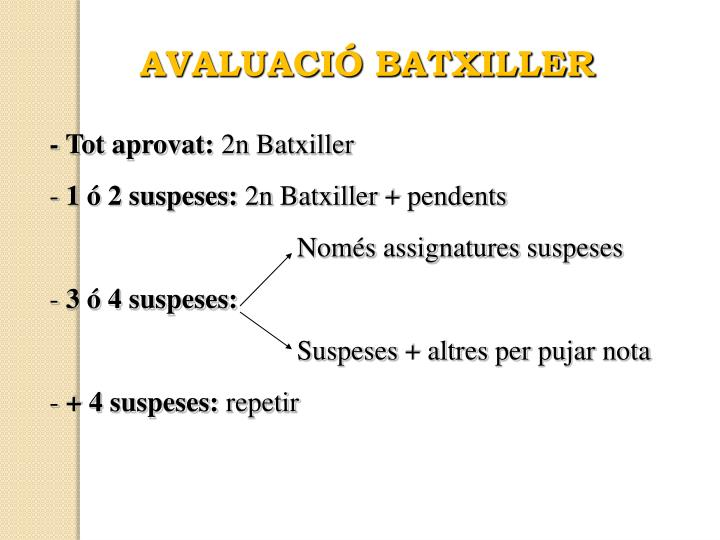 AVALUACIÓ BATXILLER