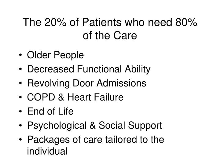 The 20% of Patients who need 80% of the Care