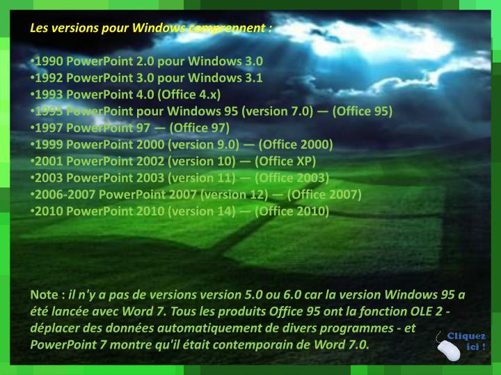 Les versions pour Windows comprennent: