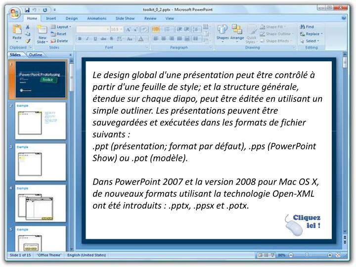 Le design global d'une présentation peut être contrôlé à partir d'une feuille de style; et la structure générale, étendue sur chaque diapo, peut être éditée en utilisant un simple outliner. Les présentations peuvent être sauvegardées et exécutées dans les formats de fichier