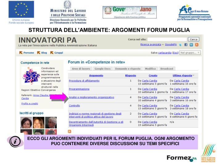 STRUTTURA DELL'AMBIENTE: ARGOMENTI FORUM PUGLIA