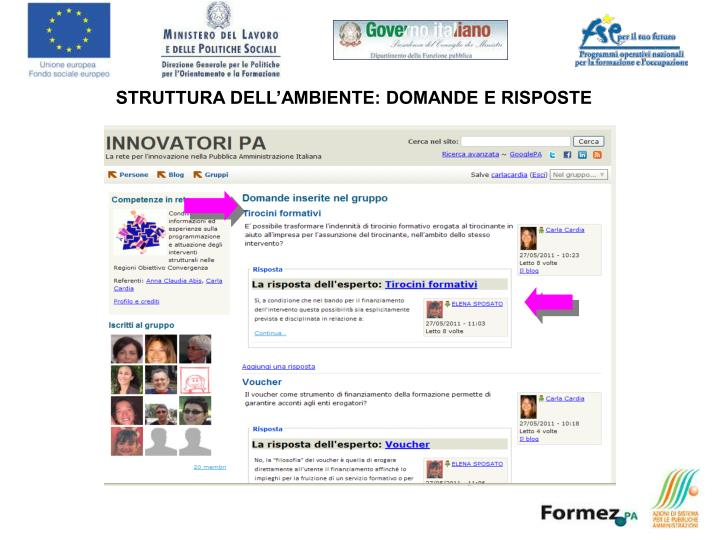 STRUTTURA DELL'AMBIENTE: DOMANDE E RISPOSTE
