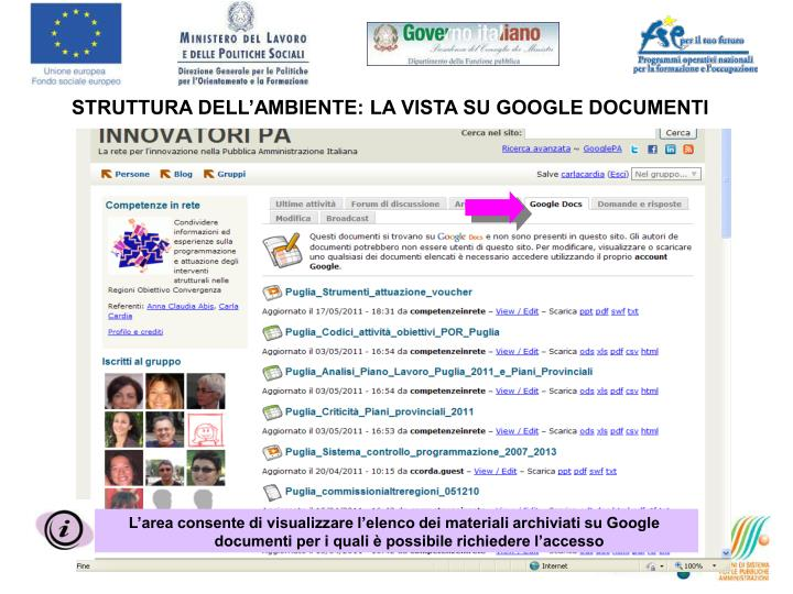 STRUTTURA DELL'AMBIENTE: LA VISTA SU GOOGLE DOCUMENTI