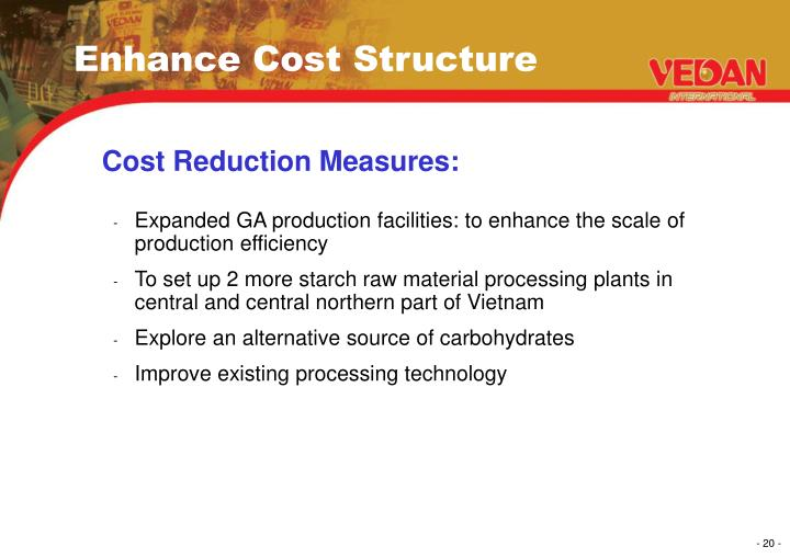 Enhance Cost Structure