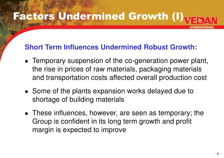 Factors Undermined Growth (I)