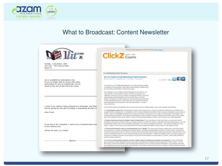 What to Broadcast: Content Newsletter