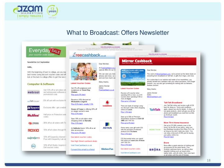 What to Broadcast: Offers Newsletter