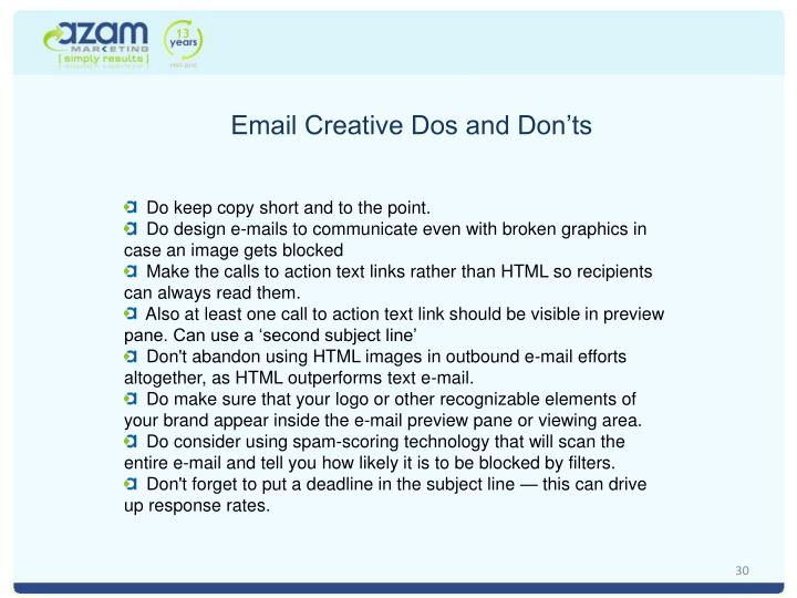 Email Creative Dos and Don'ts