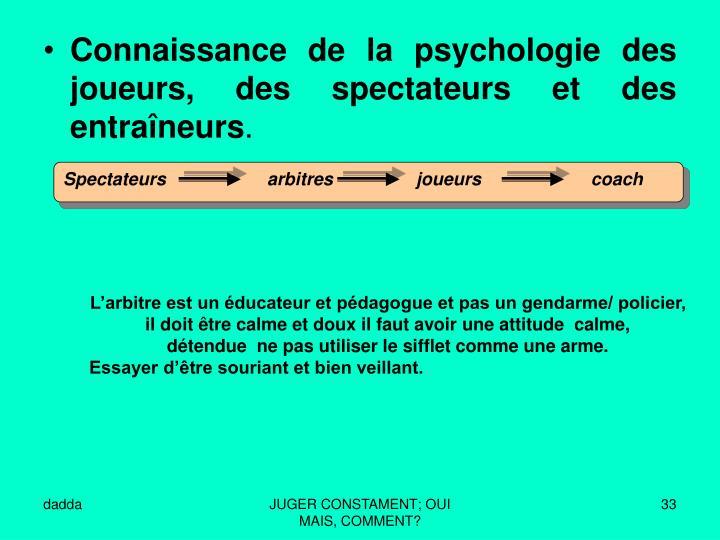 Connaissance de la psychologie des joueurs, des spectateurs et des entraîneurs
