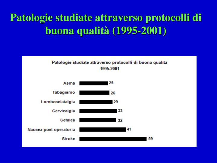 Patologie studiate attraverso protocolli di buona qualità (1995-2001)