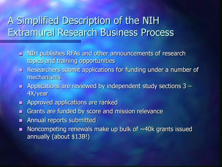 A simplified description of the nih extramural research business process
