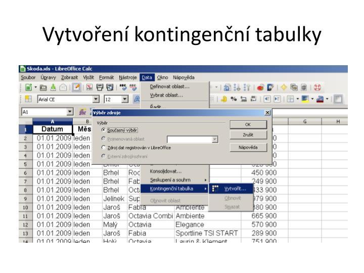 Vytvoření kontingenční tabulky