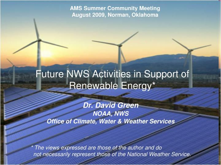 Future nws activities in support of renewable energy