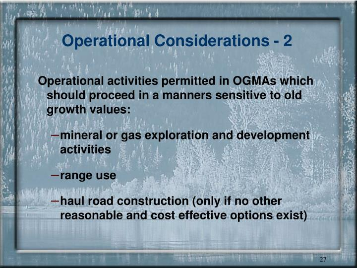 Operational Considerations - 2