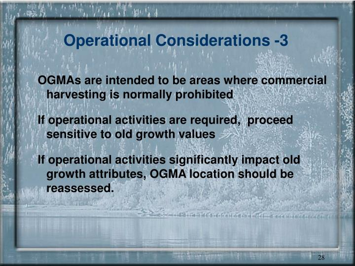 Operational Considerations -3