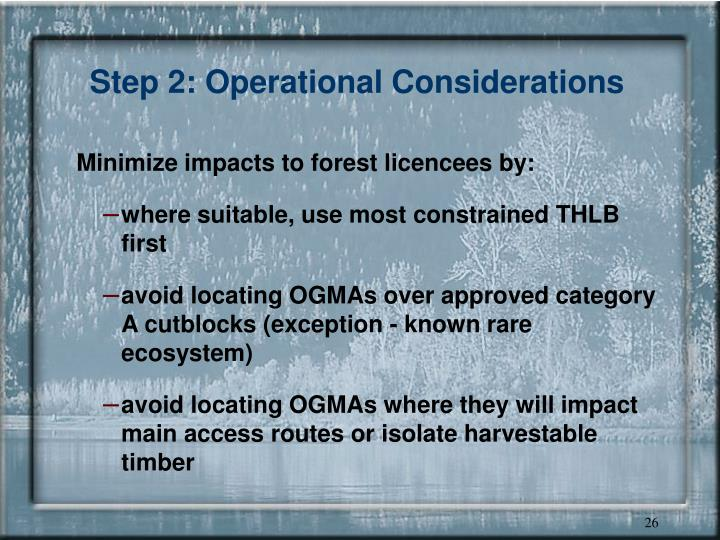 Step 2: Operational Considerations