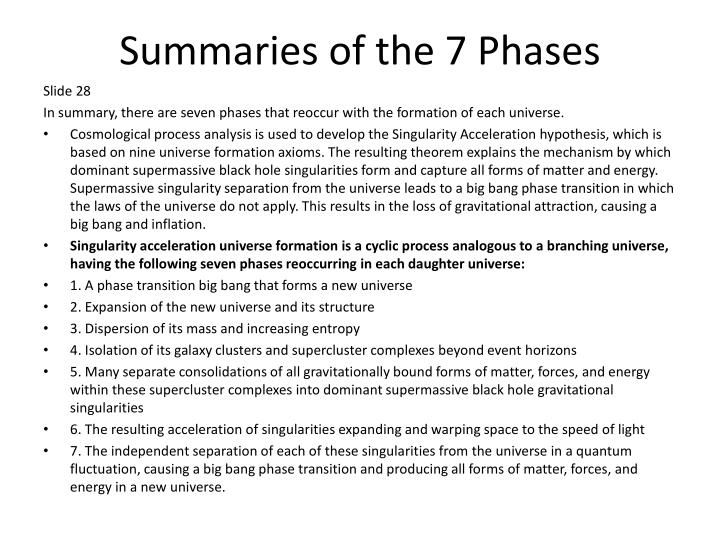 Summaries of the 7 Phases