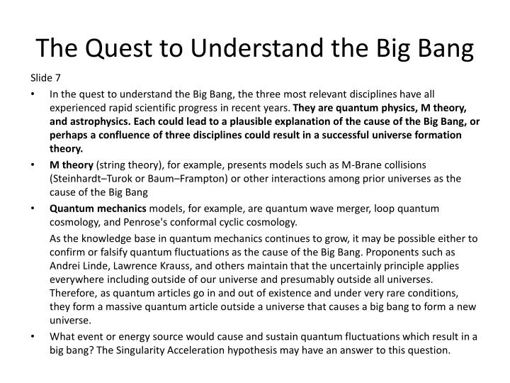 The Quest to Understand the Big Bang