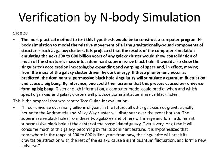 Verification by N-body Simulation