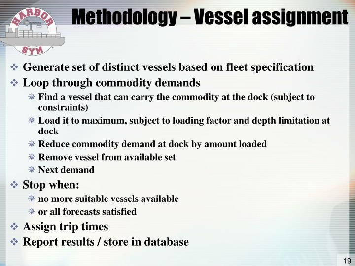 Methodology – Vessel assignment