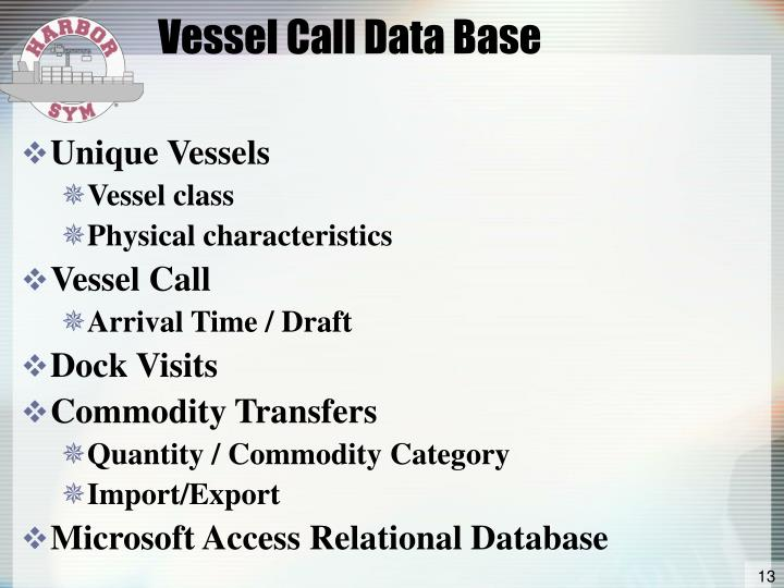 Vessel Call Data Base