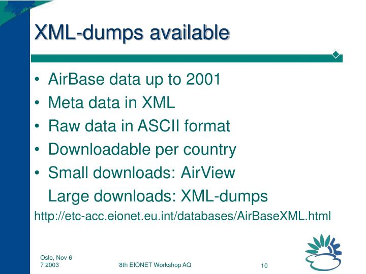 XML-dumps available