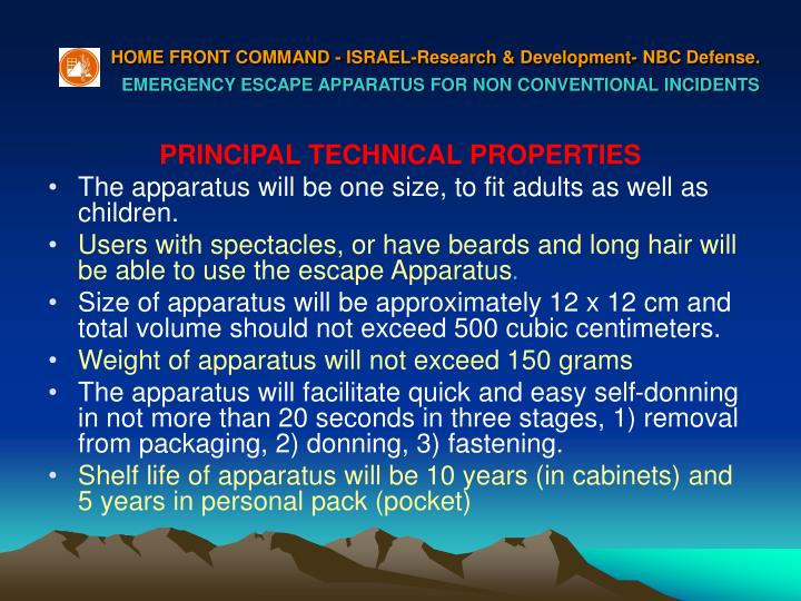HOME FRONT COMMAND - ISRAEL-Research & Development- NBC Defense.