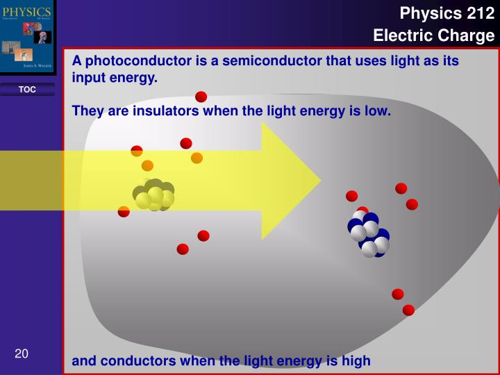 A photoconductor is a semiconductor that uses light as its input energy.