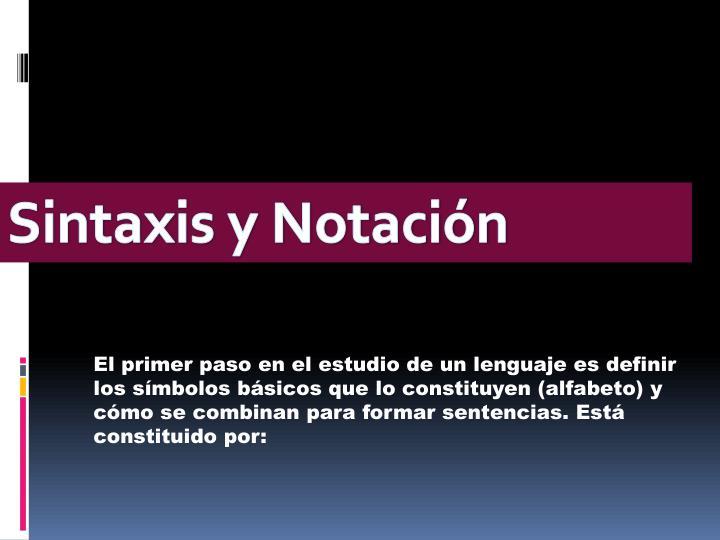 Sintaxis y Notación