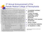 3 rd annual announcement of the female medical college of pennsylvania