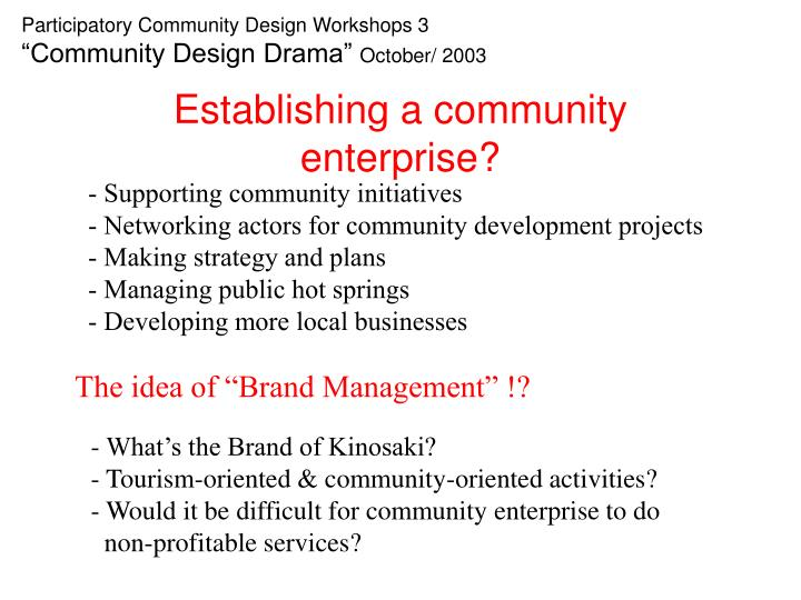 Establishing a community enterprise?