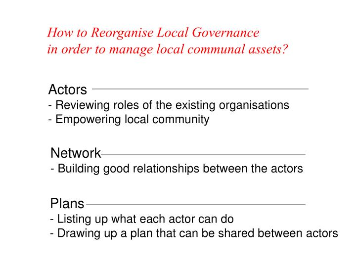 How to Reorganise Local Governance         in order to manage local communal assets?