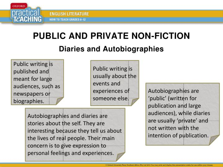 PUBLIC AND PRIVATE NON-FICTION
