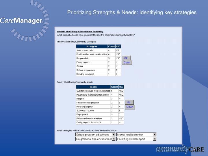 Prioritizing Strengths & Needs: Identifying key strategies