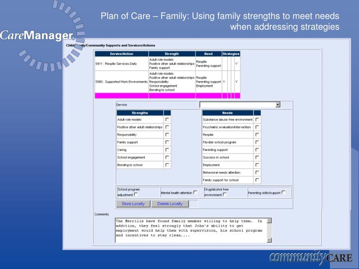 Plan of Care – Family: Using family strengths to meet needs