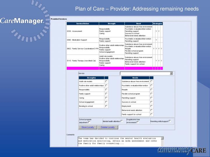 Plan of Care – Provider: Addressing remaining needs