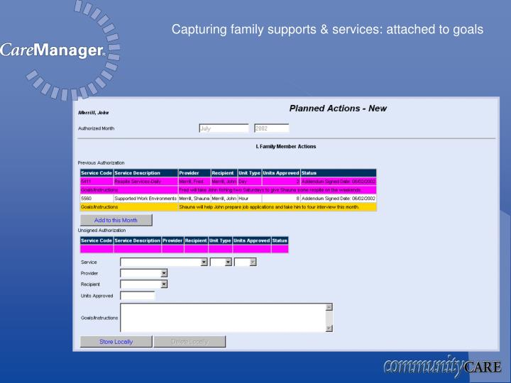 Capturing family supports & services: attached to goals