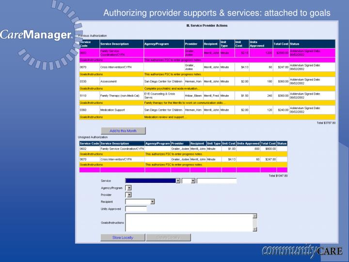 Authorizing provider supports & services: attached to goals