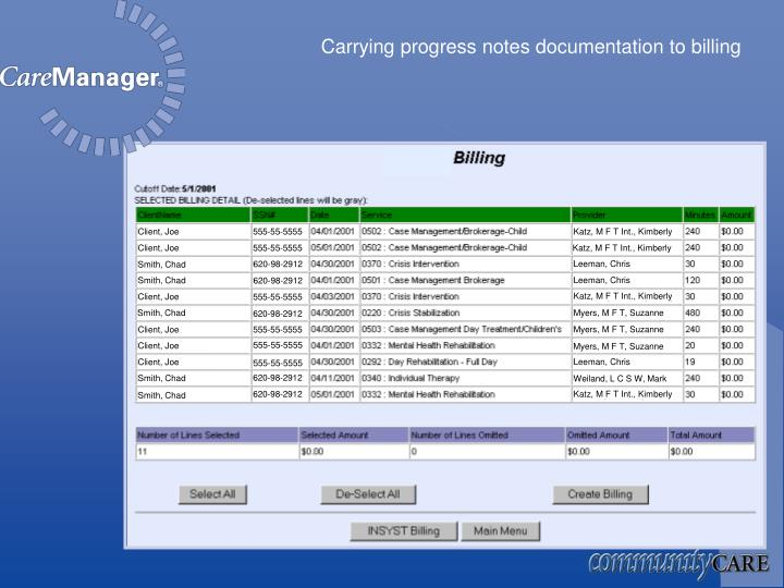 Carrying progress notes documentation to billing