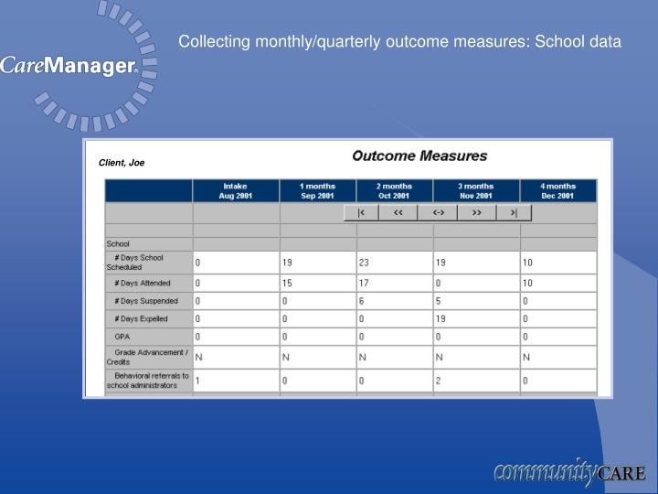 Collecting monthly/quarterly outcome measures: School data
