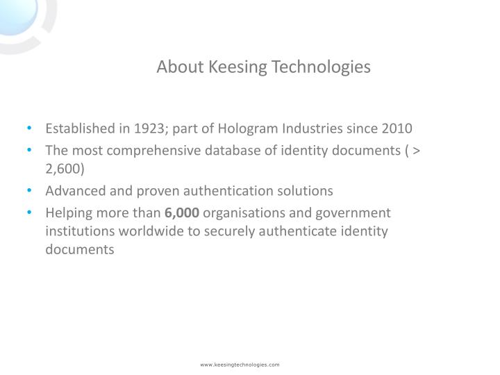 About Keesing Technologies