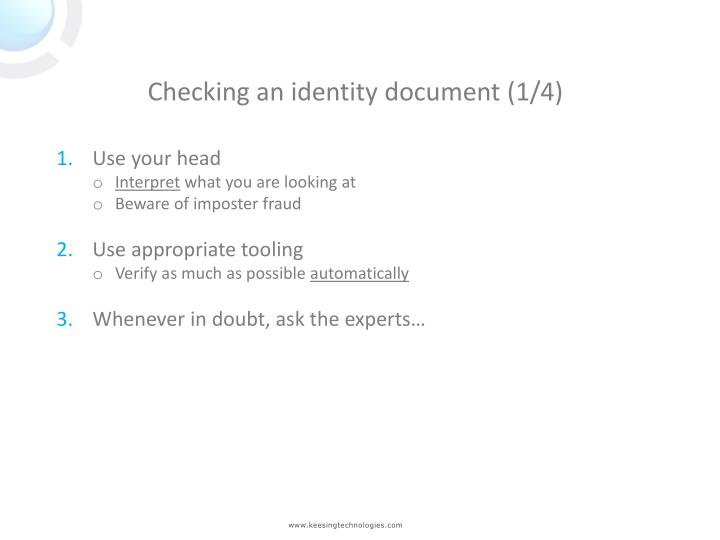 Checking an identity