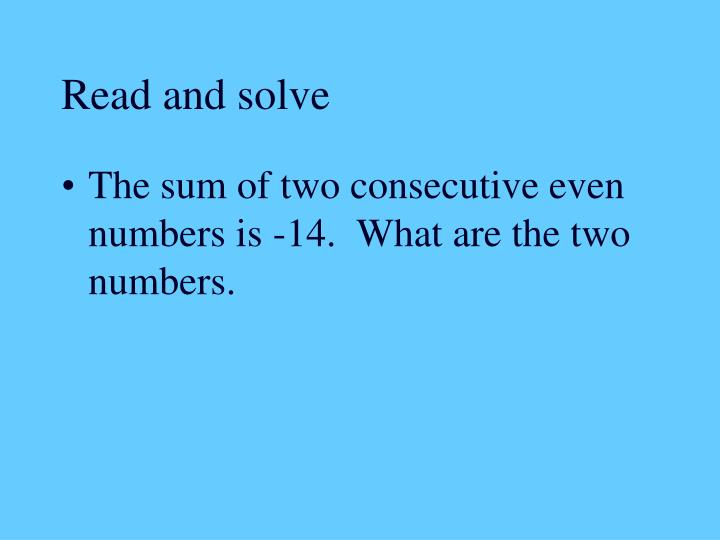 Read and solve