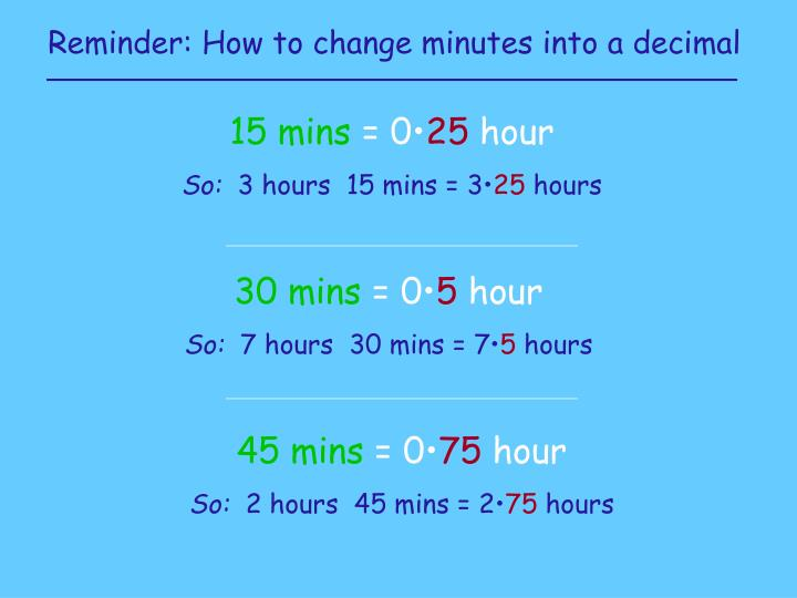 Reminder: How to change minutes into a decimal