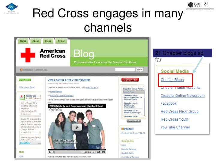 Red Cross engages in many channels